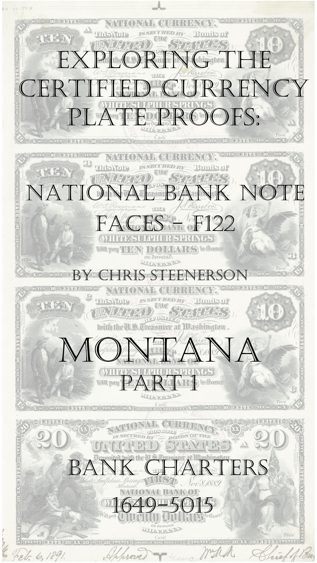 Montana National Bank Note Currency Proofs