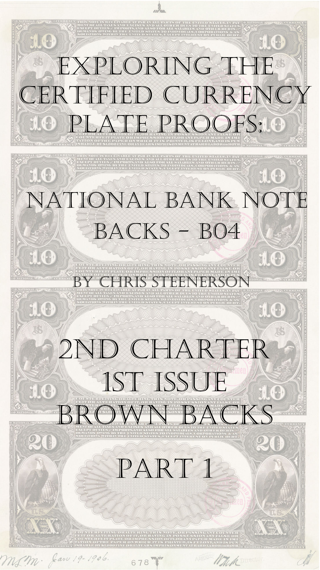 Backs 2nd Charter 1st Issue Brown Back Currency Proofs