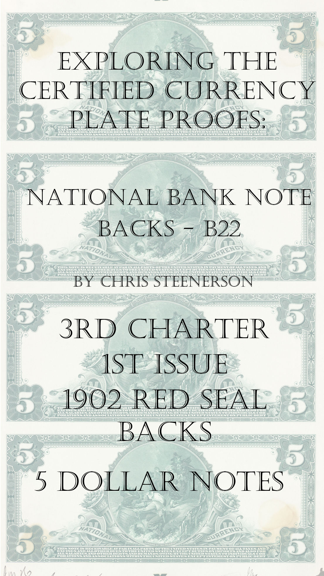 Backs 3rd Charter 1st Issue Currency Proofs